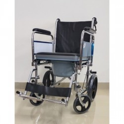 Attendant Commode Wheelchair with Flip-Up Armrest Detachable Footrest