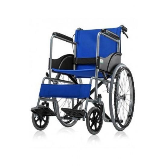Basic Premium Wheel Chair Chrome Polished-Blue