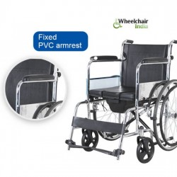 Commode Wheelchair with Foldable Back & Removable Footrest