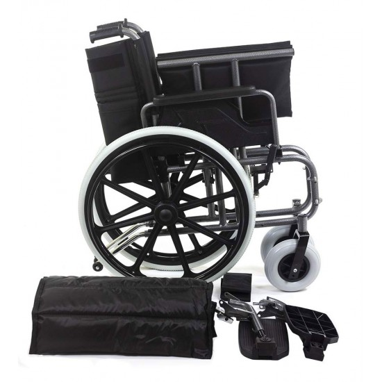 Deluxe Heavy Duty Premium Foldable Wheelchair Ideal for Heavy Patients