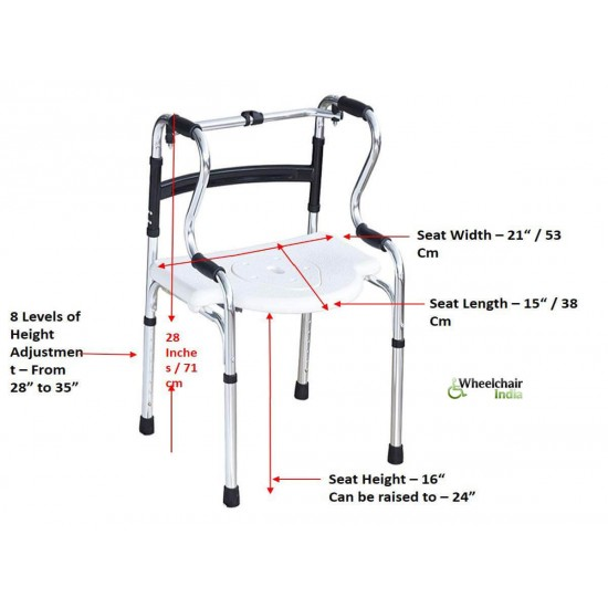 Multi Functional Foldable Walker Commode Shower Chair