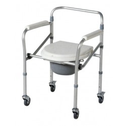 Aluminium Folding Commode Chair with Wheels