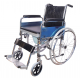 Folding Commode Manual Wheelchair With Detachable Footrest & Flip Up Armrest