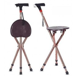 Height Adjustable Walking Stick with Folding Chair LED Torch