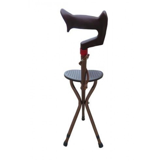 Height Adjustable Walking Stick with Folding Stool