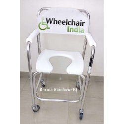 Karma Aluminium Commode Chair with Wheels Rainbow 10