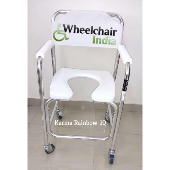 Karma Aluminium Commode Chair with Wheels Rainbow 10