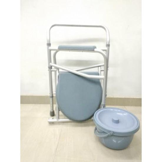 Lightweight Aluminium Folding Height Adjustable Commode Stool