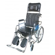 Foldable Manual Reclining Commode Wheelchair
