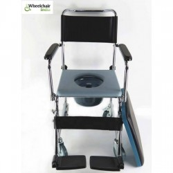Wheeled Commode Chair with Flip-Down Armrest & Detachable Footrest