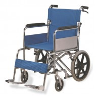 Heavy Duty Double Cross Bar Foldable Attendant Transport Wheelchair