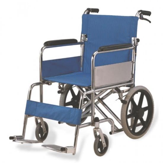 Heavy Duty Double Cross Bar Foldable Attendant Transport Wheelchair