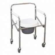 Folding Height Adjustable Commode Chair with Wheels & Armrest