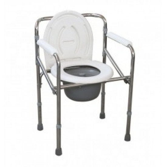 Foldable Height Adjustable Commode Chair with Backrest & Armrest
