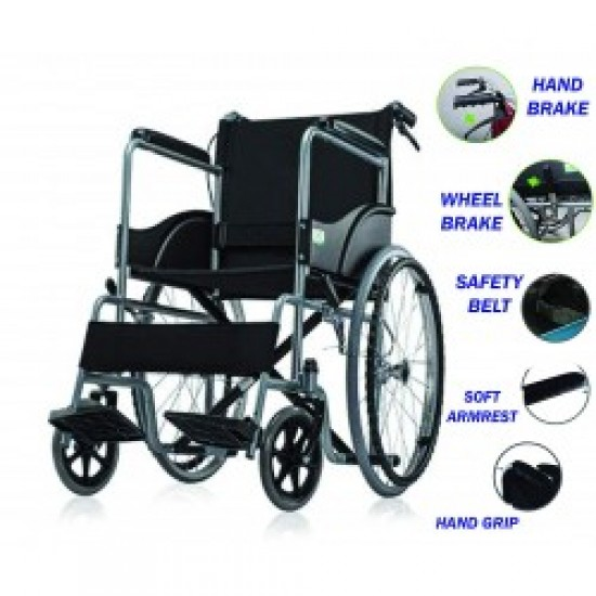 Folding Wheelchair with Attendant Brakes