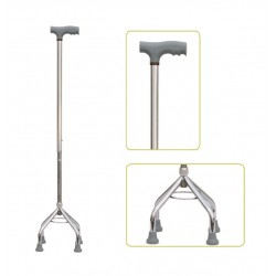 Height Adjustable Quadripod Walking Stick