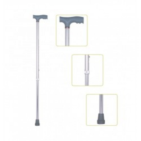 Height Adjustable Walking Stick Silver