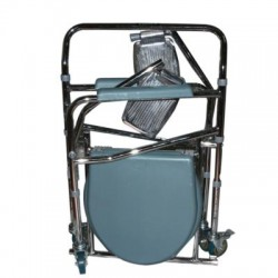Foldable Commode Stool with Footrest & Wheels