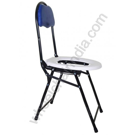 Foldable Rainbow A Commode Chair with Backrest