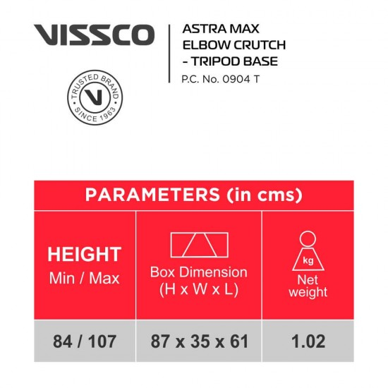 Vissco Astra Max Elbow Crutches - Tripod Base