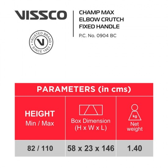Vissco Champ Max Elbow Crutches - Fixed Handle