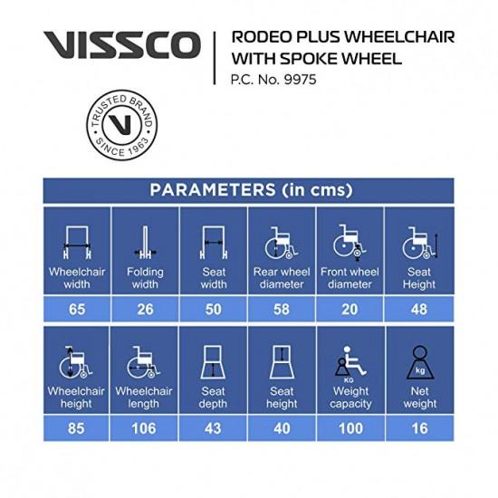 Vissco Rodeo Plus Manual Foldable Wheelchair With Spoke Wheel