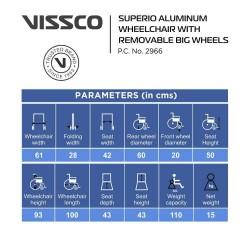 Vissco Superior Aluminium Wheelchair with Removable Big Wheels